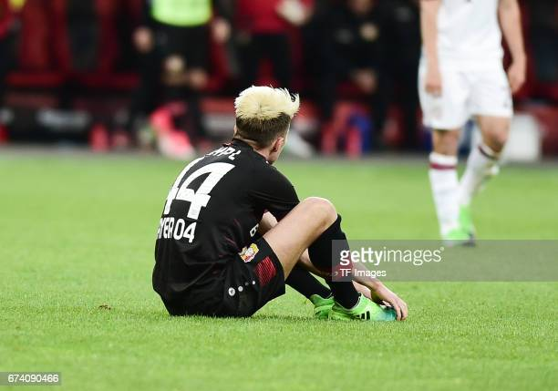 Kevin Kampl of Leverkusen on the ground l during the Bundesliga match between Bayer 04 Leverkusen and Bayern Muenchen at BayArena on April 15 2017 in...