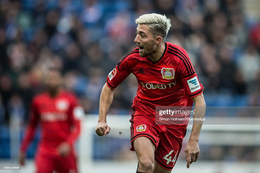 <a gi-track='captionPersonalityLinkClicked' href=/galleries/search?phrase=Kevin+Kampl&family=editorial&specificpeople=6527116 ng-click='$event.stopPropagation()'>Kevin Kampl</a> of Leverkusen reacts during the Bundesliga match between 1899 Hoffenheim and Bayer Leverkusen at Wirsol Rhein-Neckar-Arena on January 23, 2016 in Sinsheim, Germany.
