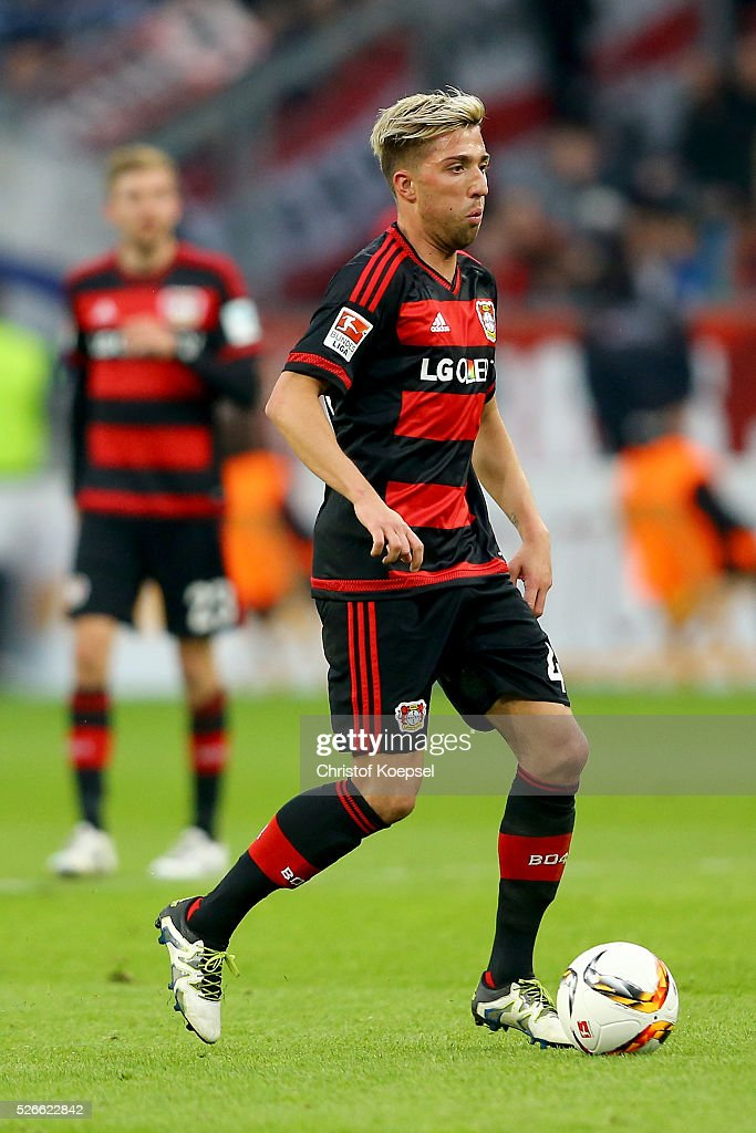 <a gi-track='captionPersonalityLinkClicked' href=/galleries/search?phrase=Kevin+Kampl&family=editorial&specificpeople=6527116 ng-click='$event.stopPropagation()'>Kevin Kampl</a> of Leverkusen runs with the ball during the Bundesliga match between Bayer Leverkusen and Hertha BSC Berlin at BayArena on April 30, 2016 in Leverkusen, Germany.