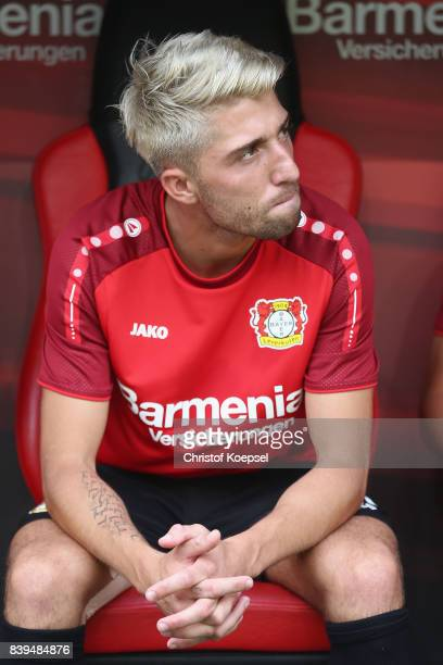 Kevin Kampl of Leverkusen sits on the bench during the Bundesliga match between Bayer 04 Leverkusen and TSG 1899 Hoffenheim at BayArena on August 26...