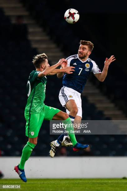Kevin Kampl of Slovenia and James Morrison of Scotland during the FIFA 2018 World Cup Qualifier between Scotland and Slovenia at Hampden Park on...