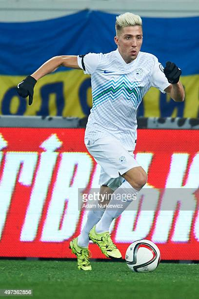 Kevin Kampl of Slovenia controls the ball during the UEFA EURO 2016 Playoff for Final Tournament First leg between Ukraine and Slovenia at Lviv Arena...