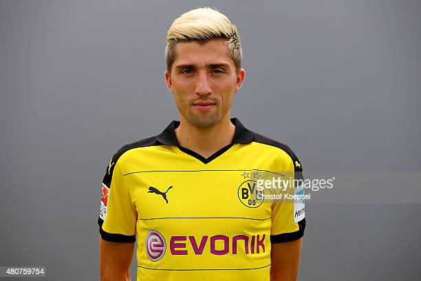 Kevin Kampl poses during the team presentation of Borussia Dortmund at Brackel training ground on July 15 2015 in Dortmund Germany