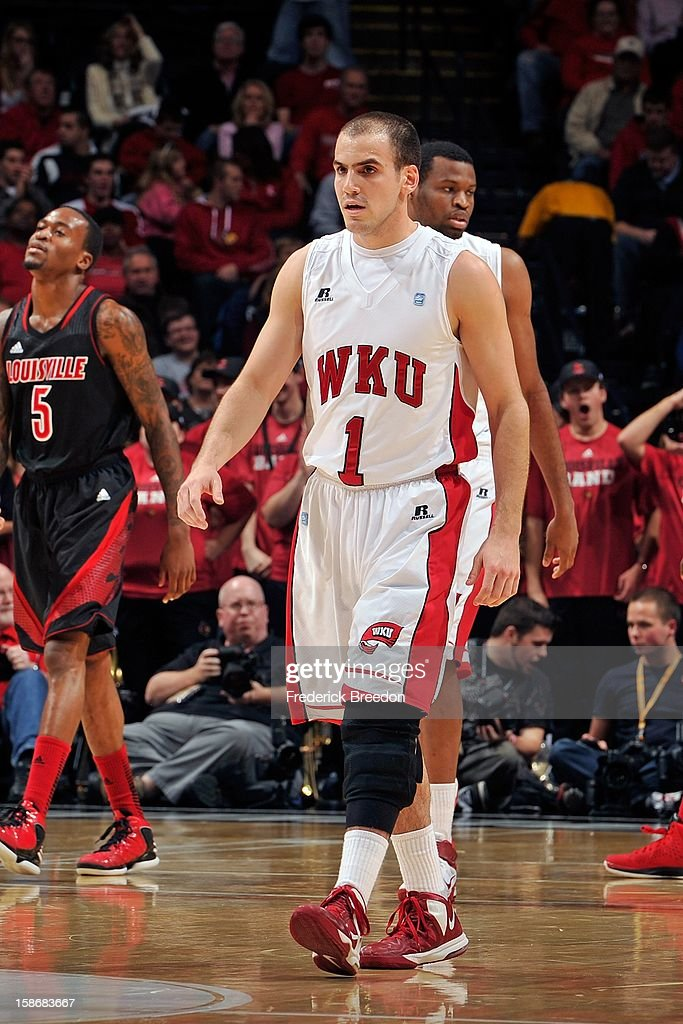 Kevin Kaspar #1 of the Western Kentucky Hilltoppers plays against the Louisville Cardinals at Bridgestone Arena on December 22, 2012 in Nashville, Tennessee.