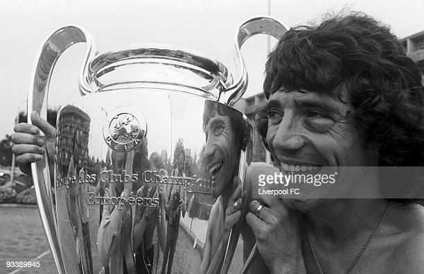 Kevin Keegan of Liverpool poses for a photograph with the European Cup before flying home on May 26 1977 in Rome Italy His black eye clearly visible