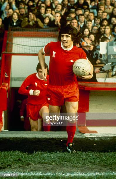 Kevin Keegan of Liverpool runs out of the player's tunnel with the ball at the start of an unidentifeid match held at Anfield in Liverpool England
