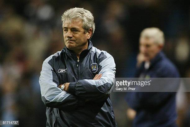 Kevin Keegan the manager of Manchester City looks on during the FA Barclays Premiership match between Manchester City and Norwich City at the City of...