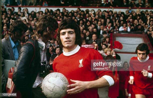 Kevin Keegan the new Liverpool FC signing runs out of the player's tunnel at Anfield prior to the Football League Division One match between...