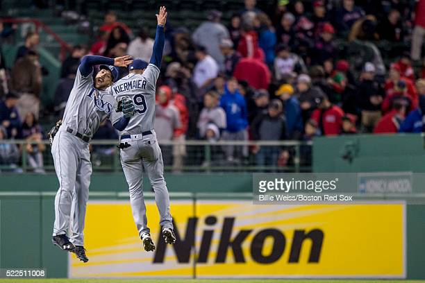 Kevin Kiermaier and Steven Souza Jr #20 of the Tampa Bay Rays celebrate a victory against the Boston Red Sox on April 19 2016 at Fenway Park in...