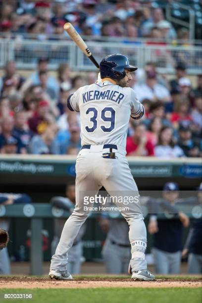 Kevin Kiermaier of the Tampa Bay Rays bats against the Minnesota Twins on May 26 2017 at Target Field in Minneapolis Minnesota The Rays defeated the...