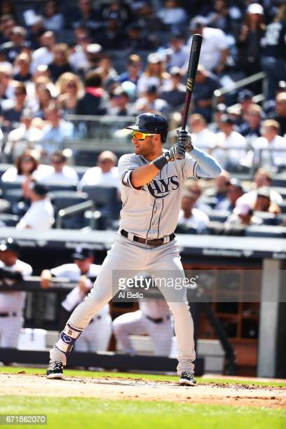 Kevin Kiermaier of the Tampa Bay Rays bats against the New York Yankees during the New York Yankees home Opening game at Yankee Stadium on April 10...