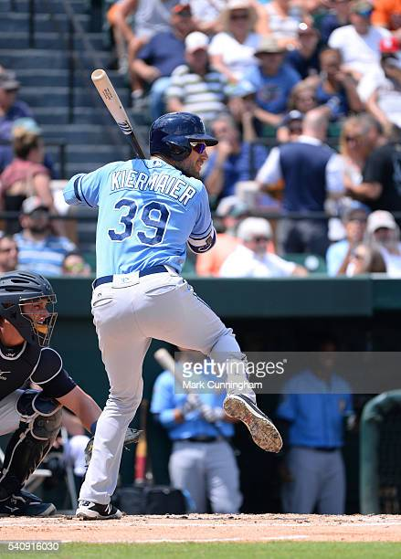 Kevin Kiermaier of the Tampa Bay Rays bats during the Spring Training game against the Detroit Tigers at Joker Marchant Stadium on April 1 2016 in...