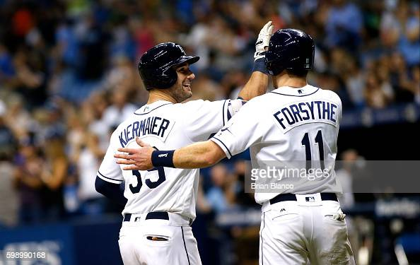 Kevin Kiermaier of the Tampa Bay Rays celebrates his tworun home run with teammate Logan Forsythe during the seventh inning of a game against the...
