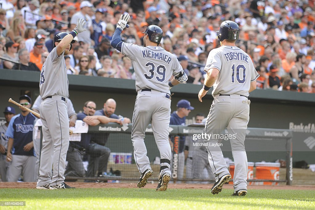 <a gi-track='captionPersonalityLinkClicked' href=/galleries/search?phrase=Kevin+Kiermaier&family=editorial&specificpeople=12507596 ng-click='$event.stopPropagation()'>Kevin Kiermaier</a> #39 of the Tampa Bay Rays celebrates hitting a two-run home run in the fourth inning during a baseball game against the Baltimore Orioles on June 28, 2014 at Oriole Park at Camden Yards in Baltimore, Maryland. The Rays won 5-4.