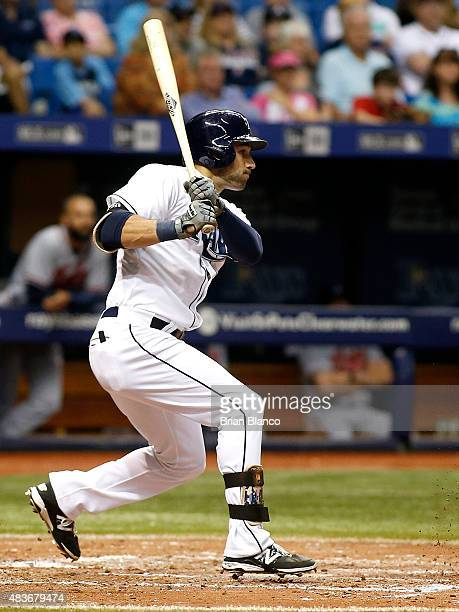 Kevin Kiermaier of the Tampa Bay Rays grounds into a double play during the fifth inning of a game against the Atlanta Braves on August 11 2015 at...