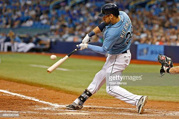 Kevin Kiermaier of the Tampa Bay Rays hits a double to right field during the eighth inning of a game against the Baltimore Orioles on September 20...