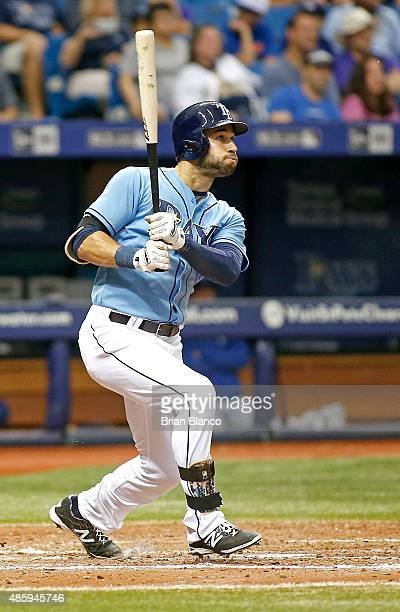 Kevin Kiermaier of the Tampa Bay Rays hits a home run off of pitcher Luke Hochevar of the Kansas City Royals during the sixth inning of a game on...
