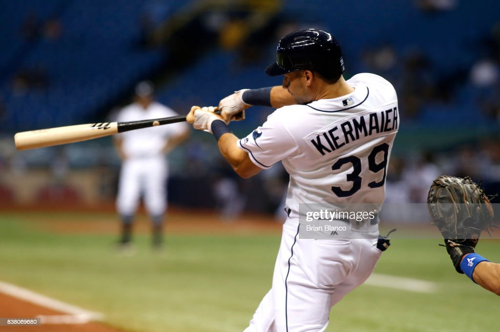 Kevin Kiermaier #39 of the Tampa Bay Rays hits a home run to right field off of pitcher Marcus Stroman of the Toronto Blue Jays during the fifth inning of a game on August 23, 2017 at Tropicana Field in St. Petersburg, Florida.