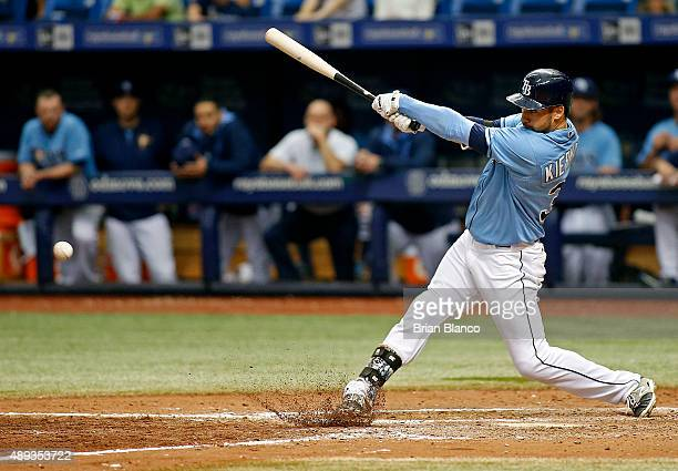 Kevin Kiermaier of the Tampa Bay Rays hits a walkoff RBI single to score Evan Longoria to end the ninth inning of game against the Baltimore Orioles...