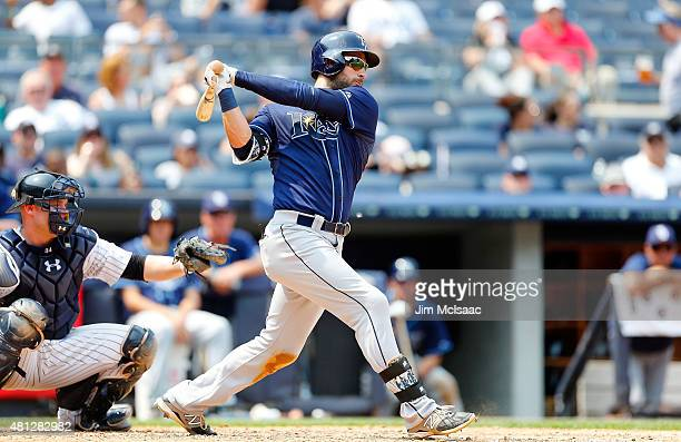 Kevin Kiermaier of the Tampa Bay Rays in action against the New York Yankees at Yankee Stadium on July 5 2015 in the Bronx borough of New York City...