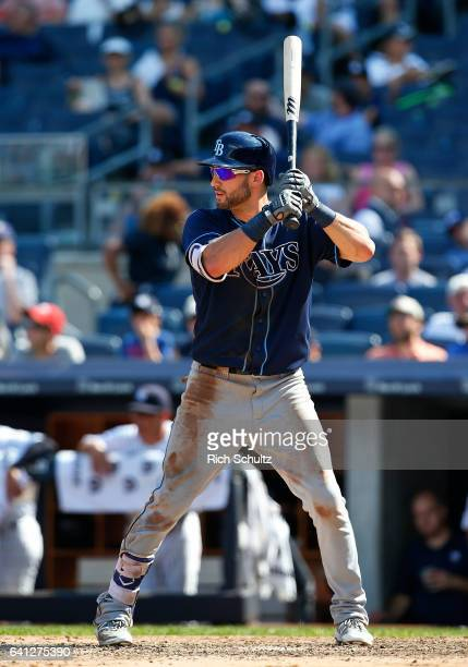 Kevin Kiermaier of the Tampa Bay Rays in action against the New York Yankees during a game at Yankee Stadium on August 13 2016 in the Bronx borough...