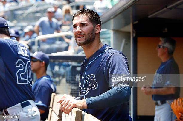 Kevin Kiermaier of the Tampa Bay Rays looks on before a game against the New York Yankees at Yankee Stadium on July 2 2014 in the Bronx borough of...