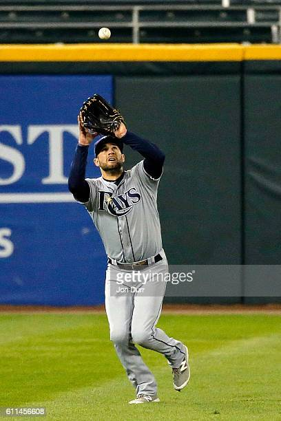 Kevin Kiermaier of the Tampa Bay Rays makes a catch for an out against the Chicago White Sox during the first inning at US Cellular Field on...