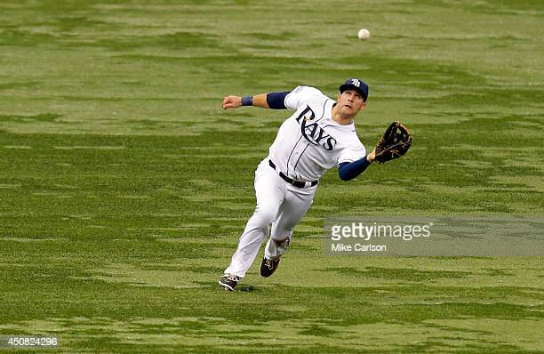 Kevin Kiermaier of the Tampa Bay Rays makes a catch on a fly ball by Nelson Cruz of the Baltimore Orioles during the fourth inning of a baseball game...