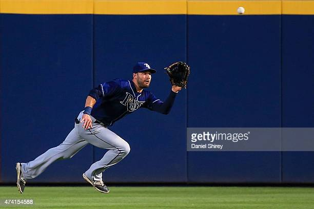 Kevin Kiermaier of the Tampa Bay Rays makes a running catch during the fifth inning against the Atlanta Braves at Turner Field on May 20 2015 in...