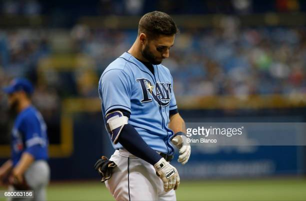 Kevin Kiermaier of the Tampa Bay Rays reacts after striking out swinging to pitcher Ryan Tepera of the Toronto Blue Jays to end the seventh inning of...