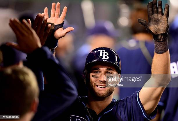 Kevin Kiermaier of the Tampa Bay Rays reacts to his run to take a 42 lead over the Los Angeles Angels from a Logan Forsythe single during the ninth...
