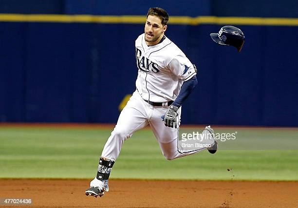 Kevin Kiermaier of the Tampa Bay Rays sprints toward third base after hitting a triple off of pitcher Jeff Samardzija of the Chicago White Sox during...