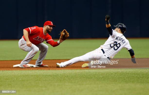 Kevin Kiermaier of the Tampa Bay Rays steals second base ahead of second baseman Danny Espinosa of the Los Angeles Angels of Anaheim during the...