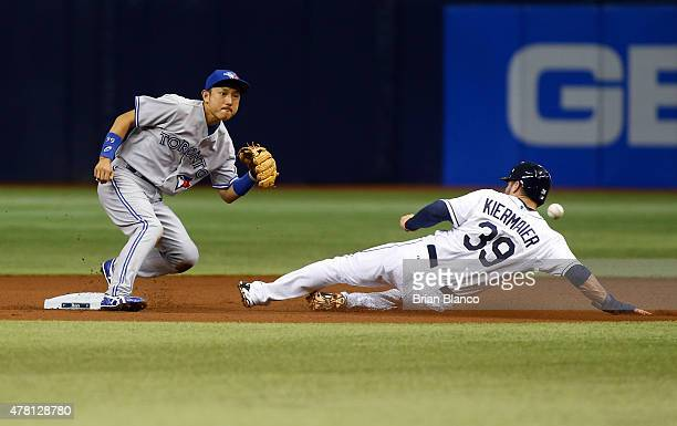 Kevin Kiermaier of the Tampa Bay Rays steals second base in front of second baseman Munenori Kawasaki of the Toronto Blue Jays during the first...