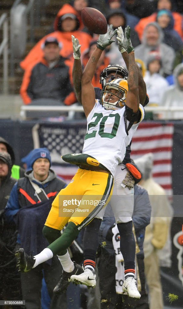 Kevin King #20 of the Green Bay Packers attempts to intercept the pass intended for Josh Bellamy #15 of the Chicago Bears in the second quarter at Soldier Field on November 12, 2017 in Chicago, Illinois. The Green Bay Packers defeated the Chicago Bears 23-16.