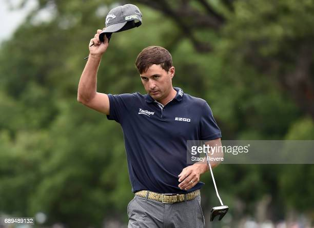 Kevin Kisner celebrates after sinking a par putt on the 18th green to win the DEAN DELUCA Invitational on May 28 2017 in Fort Worth Texas