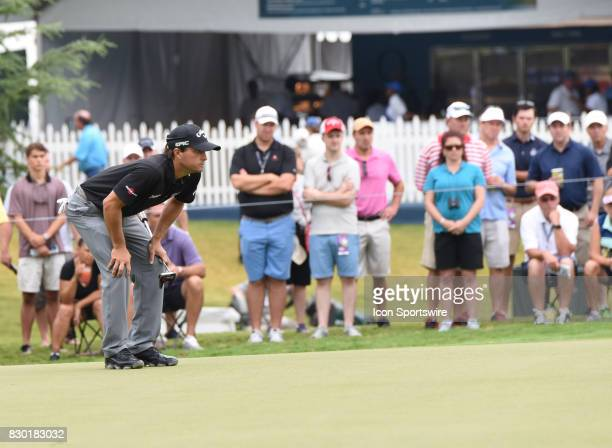 Kevin Kisner eyes a putt on the 10th green during the second round of the PGA Championship on August 11 2017 at Quail Hollow Golf Club in Charlotte NC