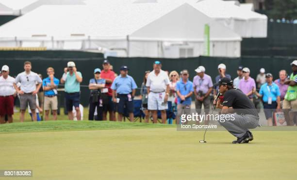Kevin Kisner eyes his putt line on the 10th hole during the second round of the PGA Championship on August 11 2017 at Quail Hollow Golf Club in...