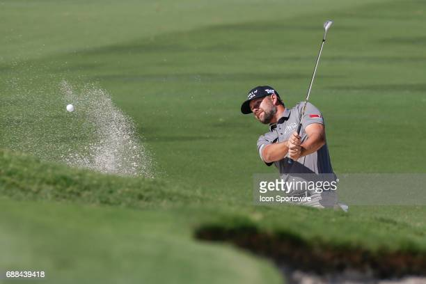Kevin Kisner hits from a green side bunker on during the first round of the Dean Deluca Invitational on May 25 2017 at Colonial Country Club in Fort...