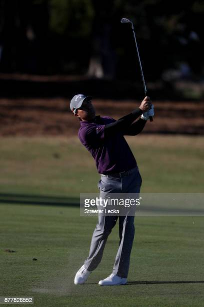 Kevin Kisner of the United States plays a shot on the 15th hole during the final round of The RSM Classic at Sea Island Golf Club Seaside Course on...