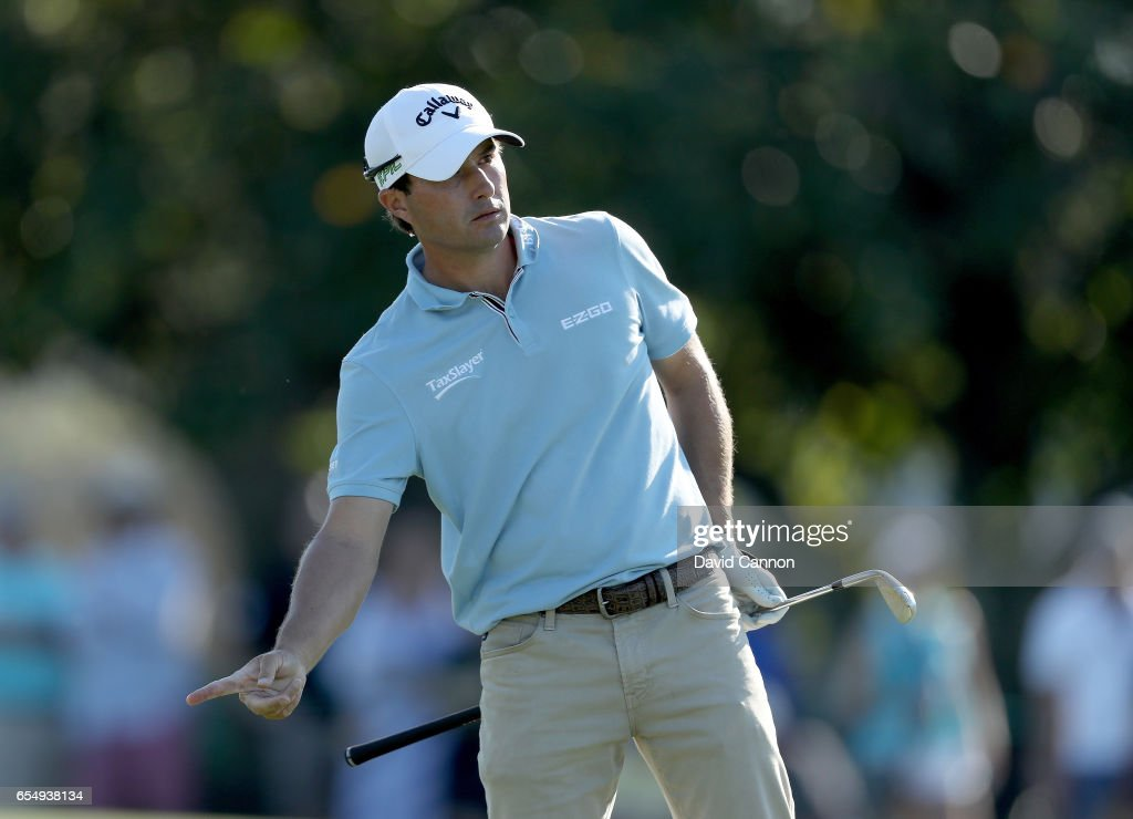 Kevin Kisner of the United States plays his second shot on the par 4, 18th hole during the third round of the 2017 Arnold Palmer Invitational presented by MasterCard on March 18, 2017 in Orlando, Florida.