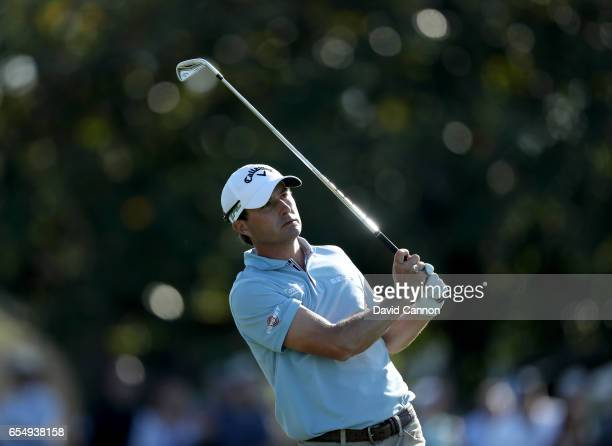 Kevin Kisner of the United States plays his second shot on the par 4 18th hole during the third round of the 2017 Arnold Palmer Invitational...