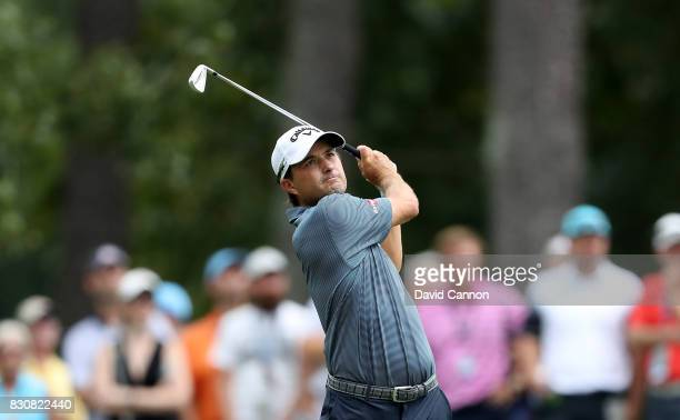Kevin Kisner of the United States plays his second shot on the par 4 first hole during the third round of the 2017 PGA Championship at Quail Hollow...