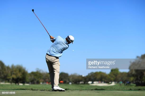 Kevin Kisner of the United States plays his shot from the 11th tee during the third round of the Arnold Palmer Invitational Presented By MasterCard...