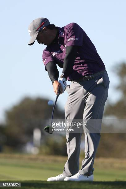 Kevin Kisner of the United States plays his shot from the 16th tee during the final round of The RSM Classic at Sea Island Golf Club Seaside Course...