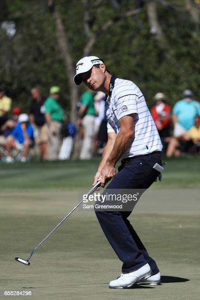 Kevin Kisner of the United States putts on the ninth green during the final round of the Arnold Palmer Invitational Presented By MasterCard at Bay...