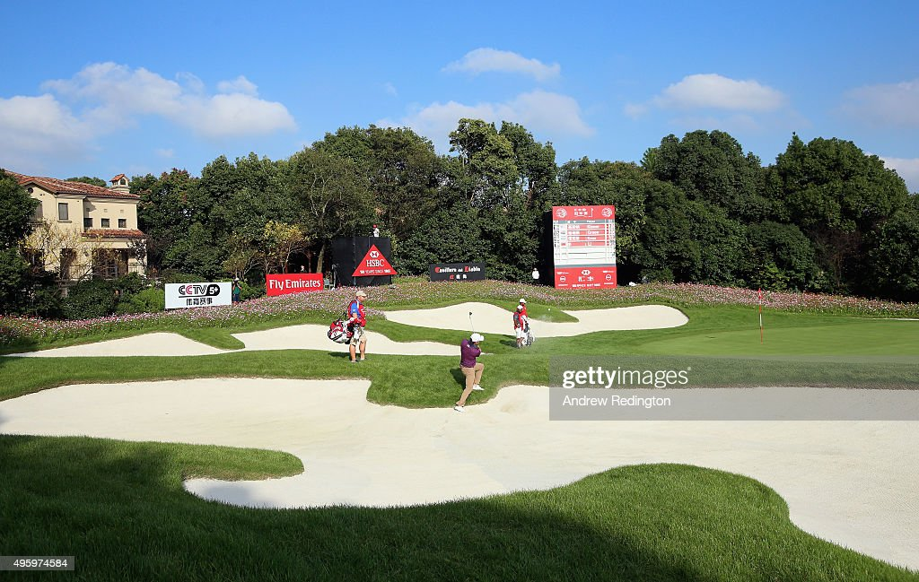 Kevin Kisner of the USA plays a bunker shot on the 17th hole during the second round of the WGC HSBC Champions at the Sheshan International Golf Club...