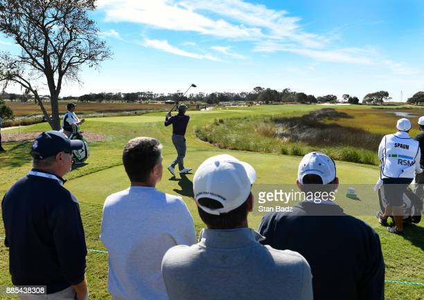 Kevin Kisner plays a shotr on the fifth hole during the final round of The RSM Classic at the Sea Island Resort Seaside Course on November 19 2017 in...