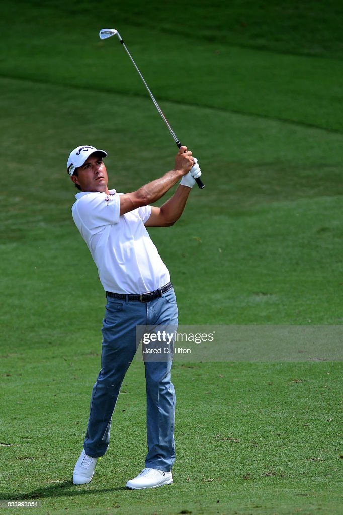 Kevin Kisner plays his second shot from the ninth fairway during the first round of the Wyndham Championship at Sedgefield Country Club on August 17, 2017 in Greensboro, North Carolina.