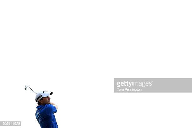 Kevin Kisner plays his shot from the 17th tee during the second round of the Sony Open In Hawaii at Waialae Country Club on January 15 2016 in...